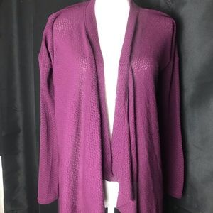 Eddie Bauer Purple Draped Collar Knit-L